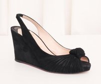 Christian Louboutin Womens Suede Slingback Wedge Heel Black Platforms