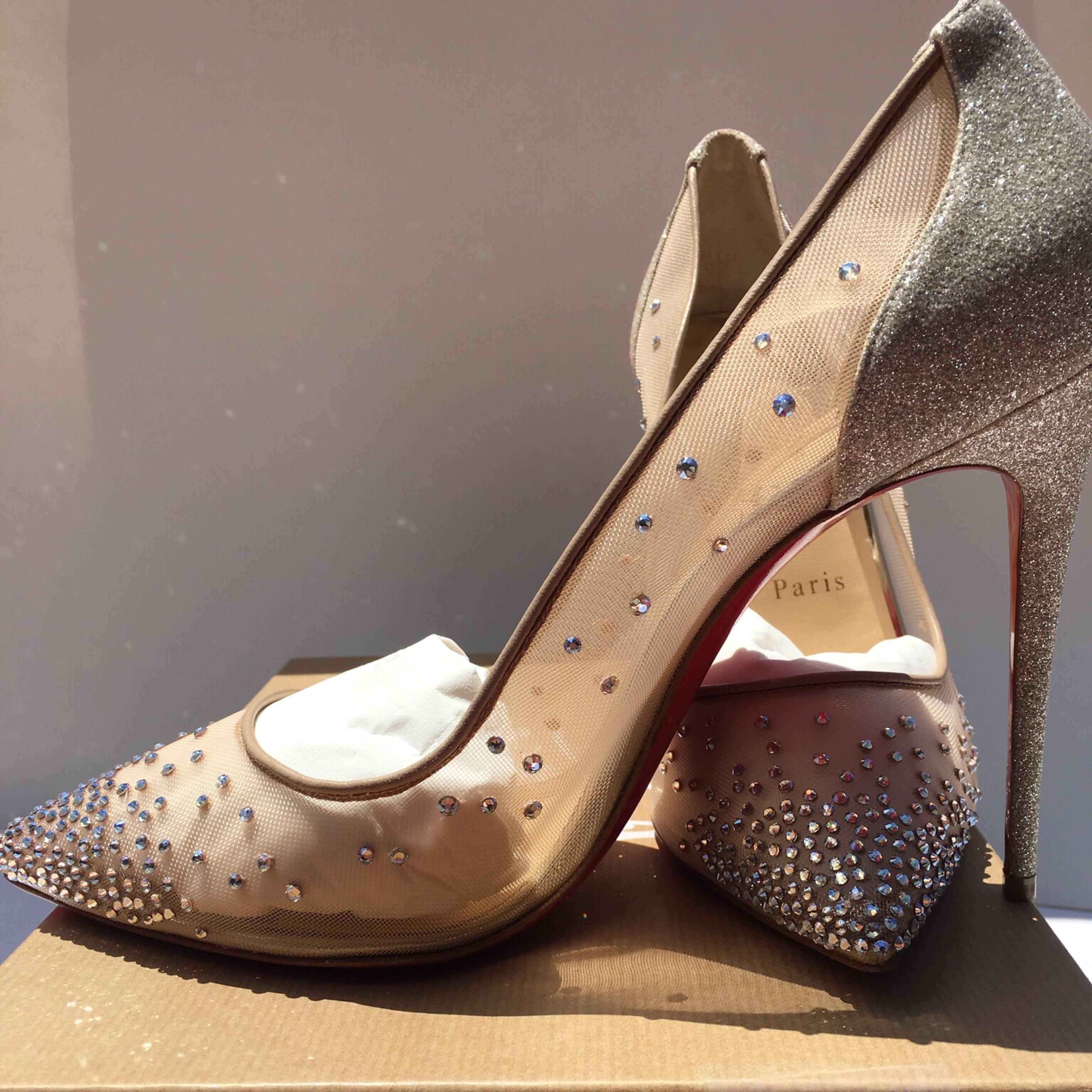 56045348263 ... Christian Louboutin Beige Follies Strass Crystal Crystal Crystal Mesh  Pumps Size US 10.5 Regular (M ...