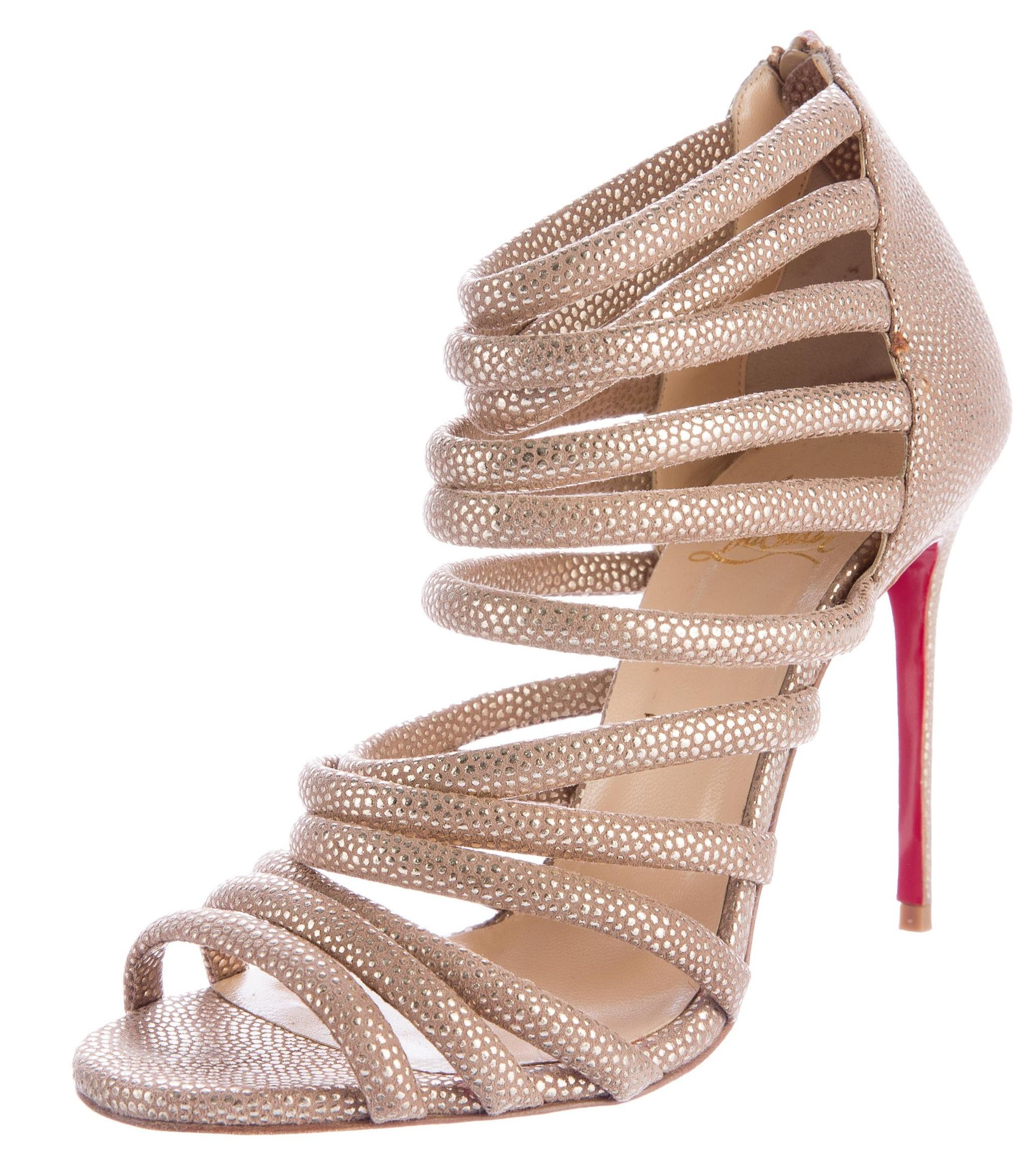clearance cheap online sale get to buy Christian Louboutin Metallic Multistrap Sandals sale cheap shop offer cheap online cheap sale explore DkbCFB