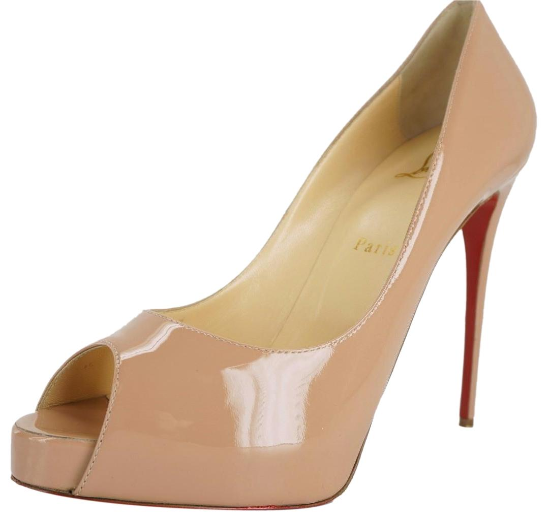 Christian Louboutin Beige Nude Patent New Very Prive Platform Peep Pumps Size EU 39 (Approx. US 9) Regular (M, B)