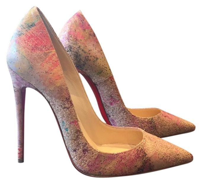 929fadd2e894 Christian Louboutin Beige So Kate Blooming Blooming Blooming Cork Nude  Multi Color Stiletto Pumps Size EU