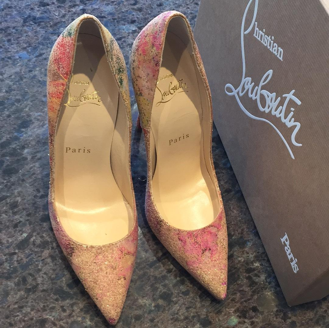 d1146eb36127 ... Christian Louboutin Beige So Kate Blooming Blooming Blooming Cork Nude  Multi Color Stiletto Pumps Size EU ...