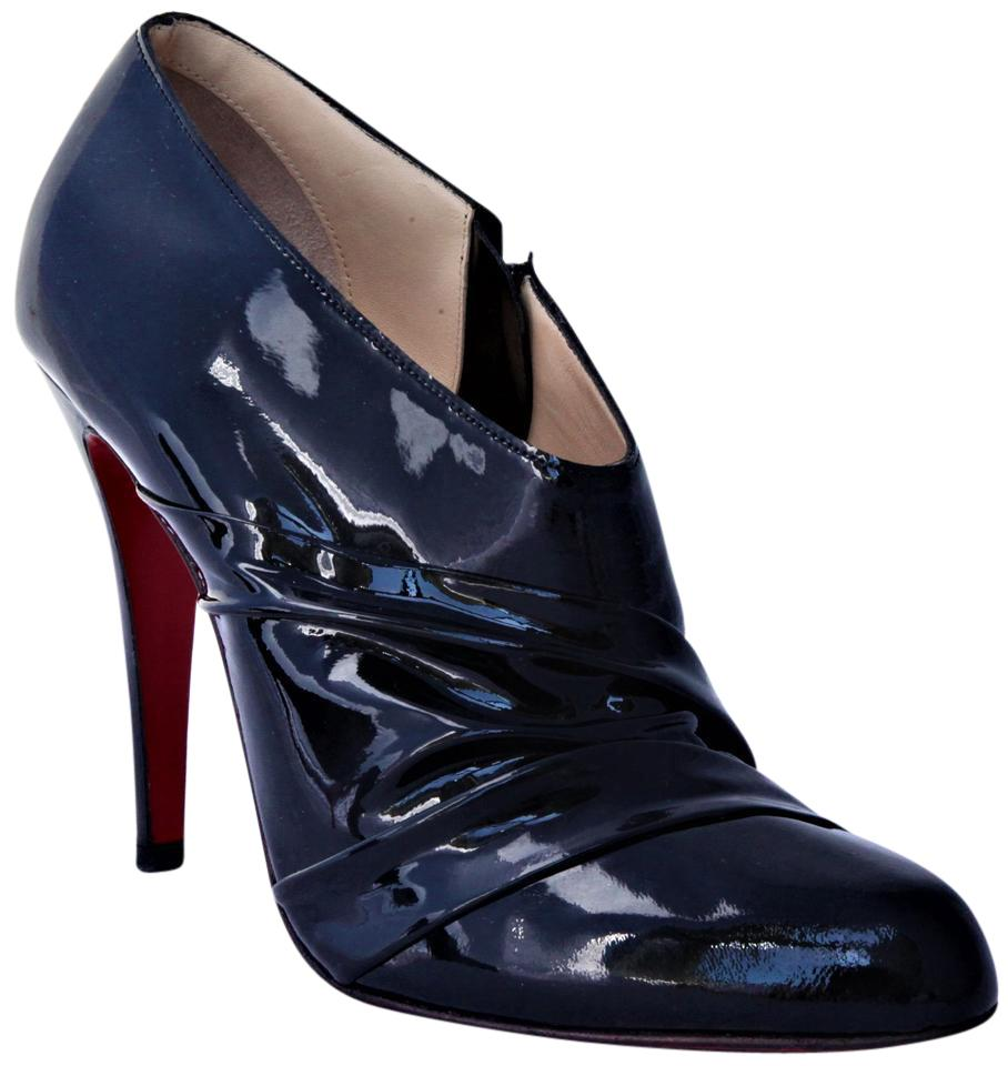 Christian Louboutin Black 38.5 It Patent Leather 120 High Heel Red Sole Lady Toe Zip Pump Boots/Booties Size US 8.5 Regular (M, B)