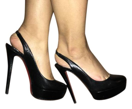 christian louboutin Noir  bianca gamin sling 140 gamin bianca cuir chaussures pompes - formelle b26f78