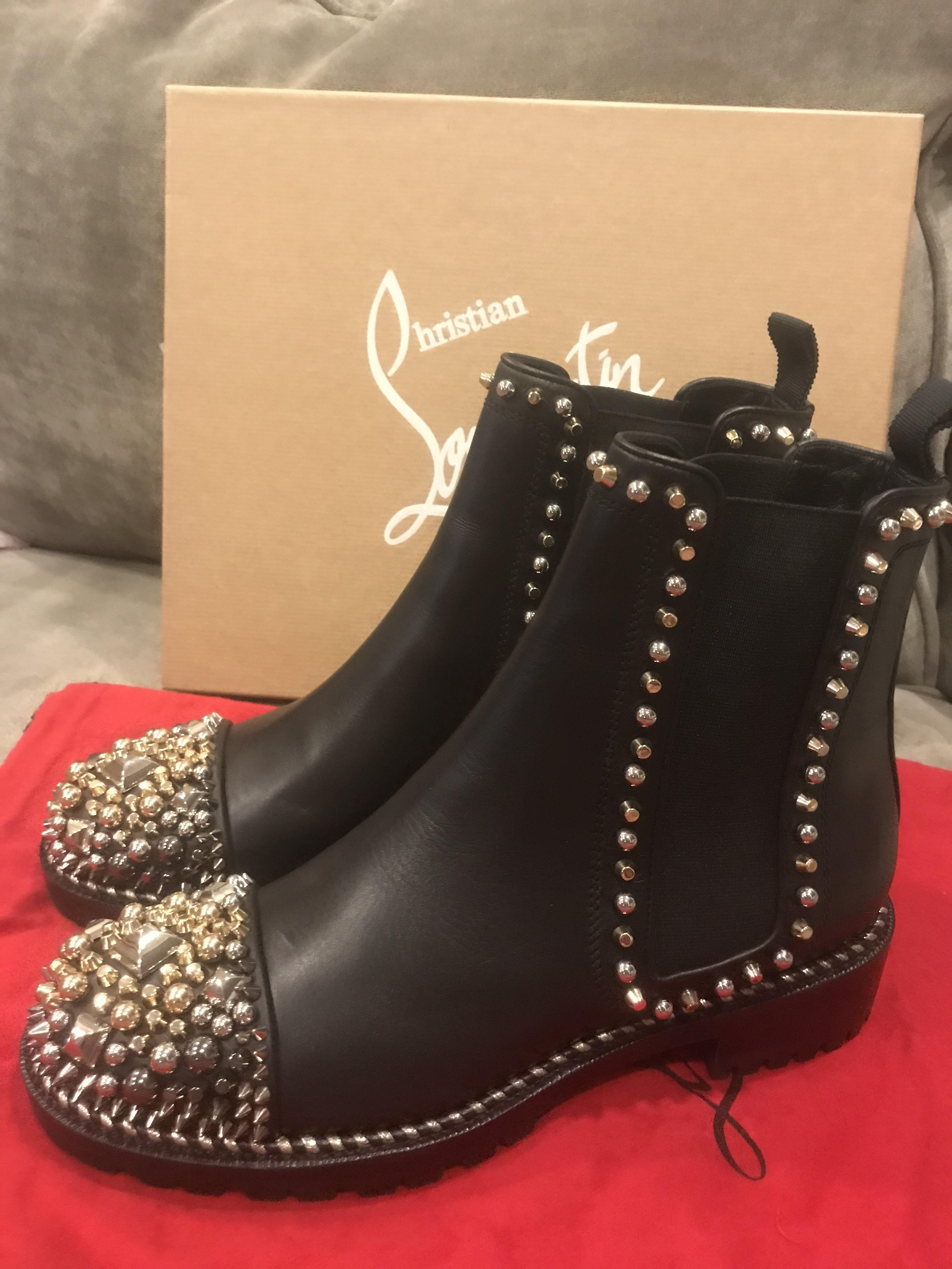 884147c8ef07 ... free shipping black flat ankle studded christian a leather booties  chasse boots chelsea clou louboutin gx57w04nq1