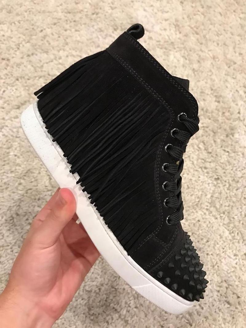 timeless design 8cd4e dcdd8 get louboutin sneakers high black and white e0bb7 344d8