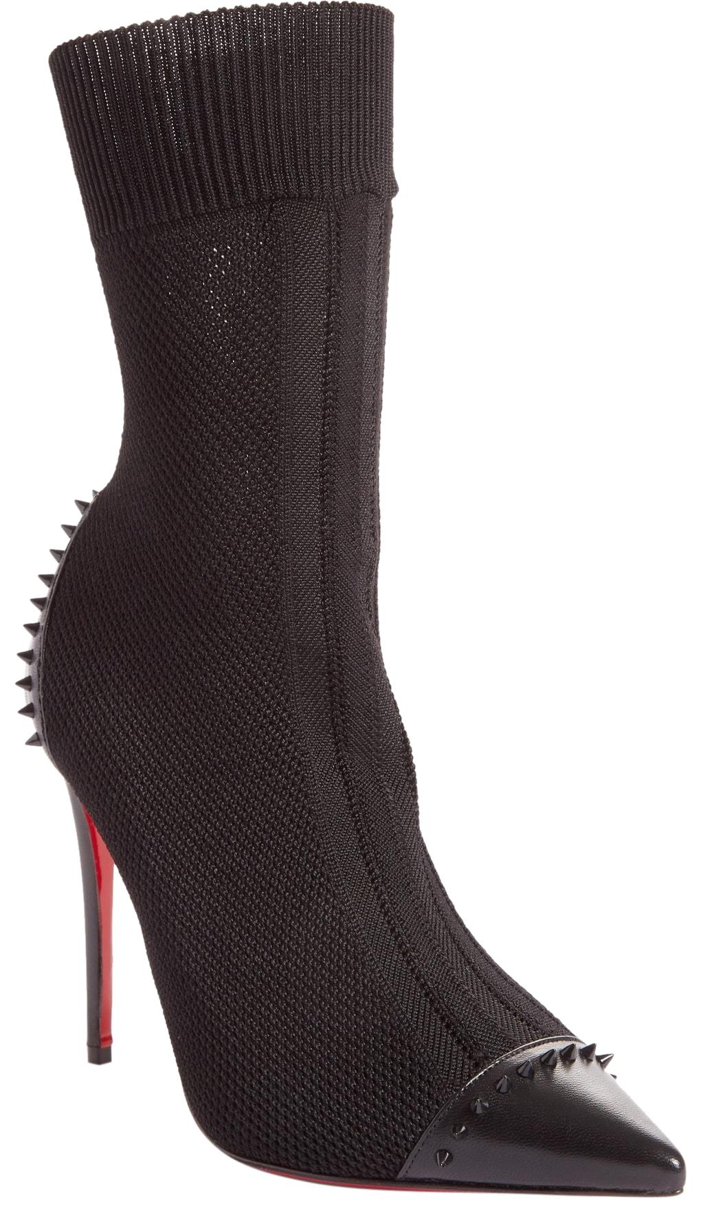Christian Louboutin Black Dovi Dova Spiked Pointy Toe Boots/Booties Size EU 37 (Approx. US 7) Regular (M, B)