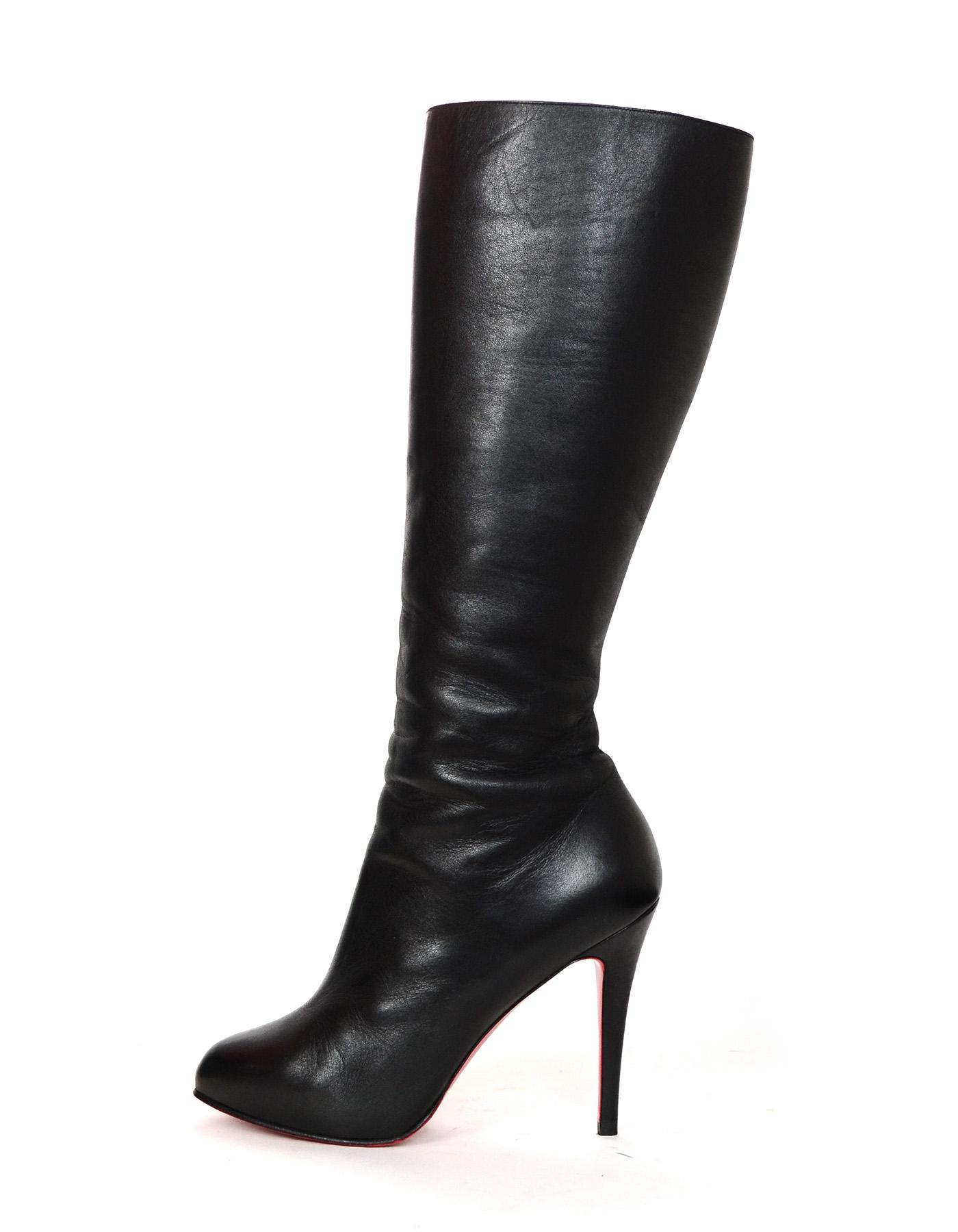 Christian Louboutin Black Leather Ginevra 120 Boots/Booties Size EU 38.5 (Approx. US 8.5) Regular (M, B)