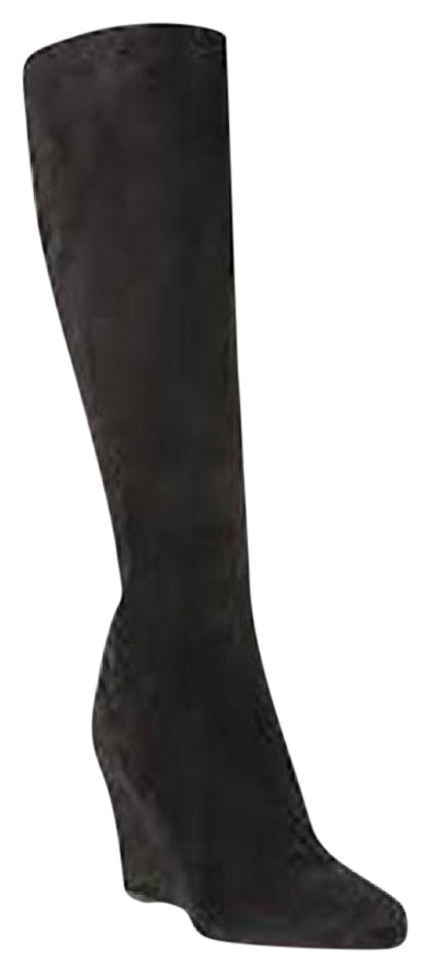 Christian Louboutin Black Melisa 85 Suede Tall Knee High Wedge 37.5 Boots/Booties Size US 7.5