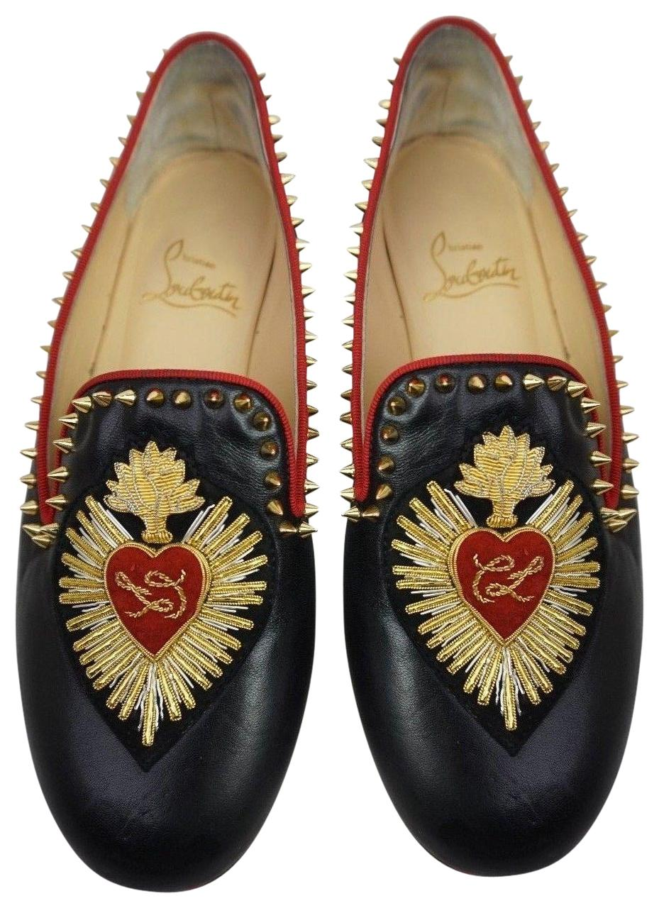 Christian Louboutin Black Mi Corazon Spiked Leather Loafers Women's Flats Size EU 35 (Approx. US 5) Regular (M, B)