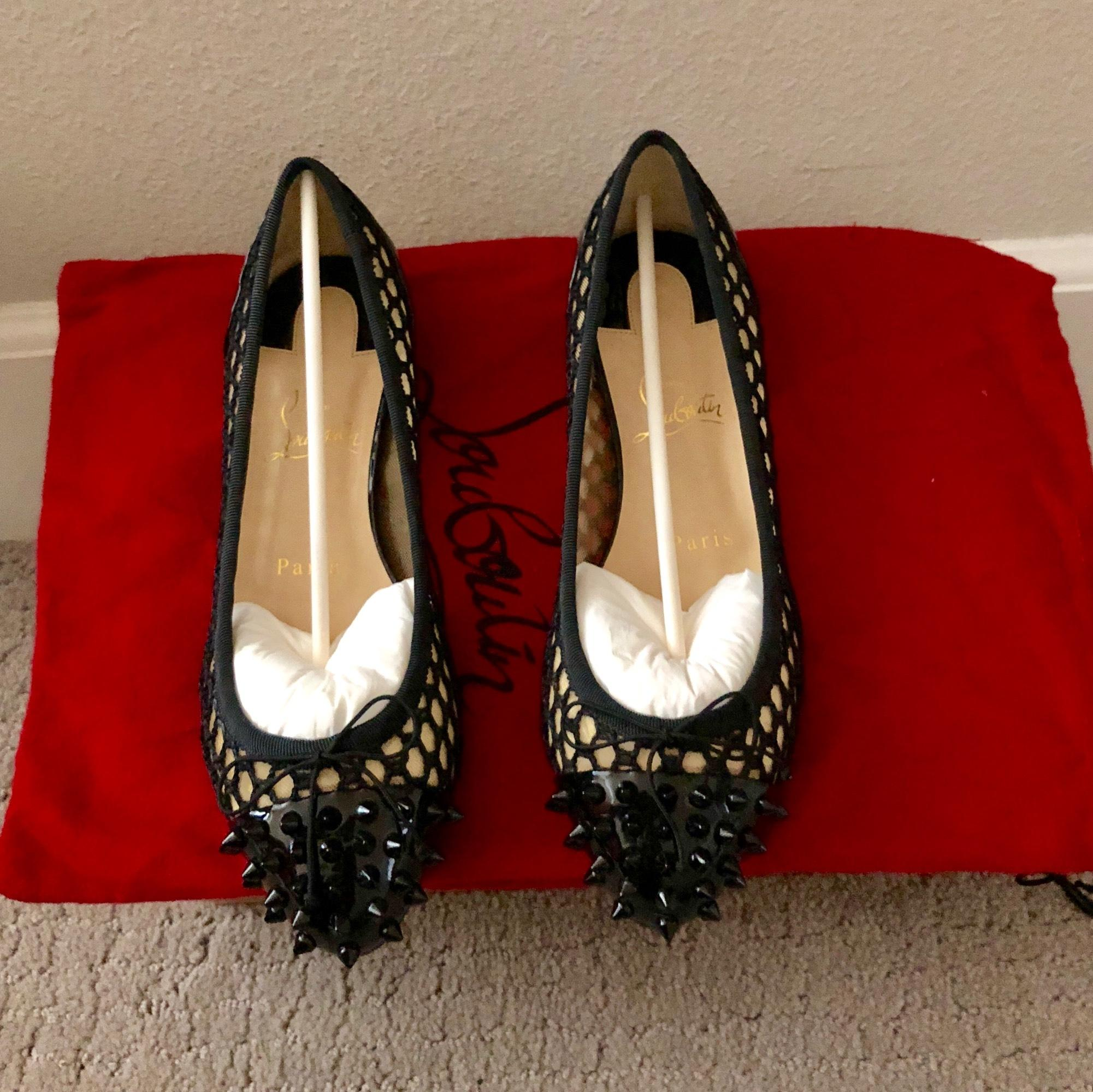 Christian Louboutin Black Mix Patent Leather and Mesh Spiked Flats Size US 6.5 Regular (M, B)