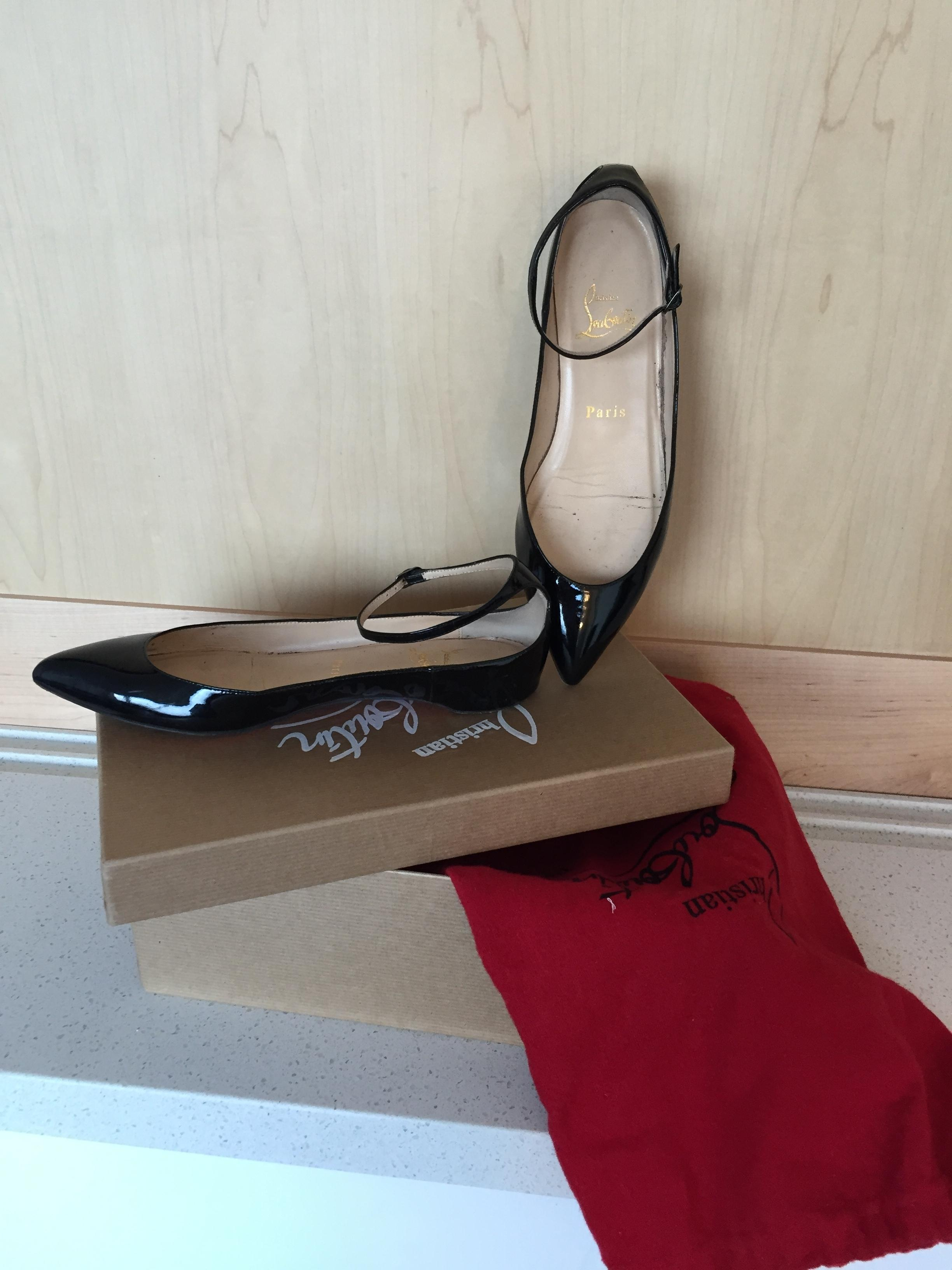 christian taille louboutin Noir  mme h cuirs cheville flats taille christian nous 6 étroites (aa, n) ef85f9