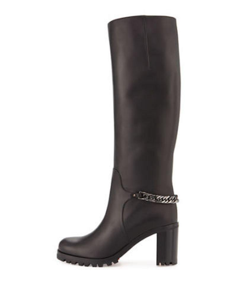 Christian Louboutin Black Napoleo 70 Leather Chain Knee High Boots/Booties Size EU 37 (Approx. US 7) Regular (M, B)