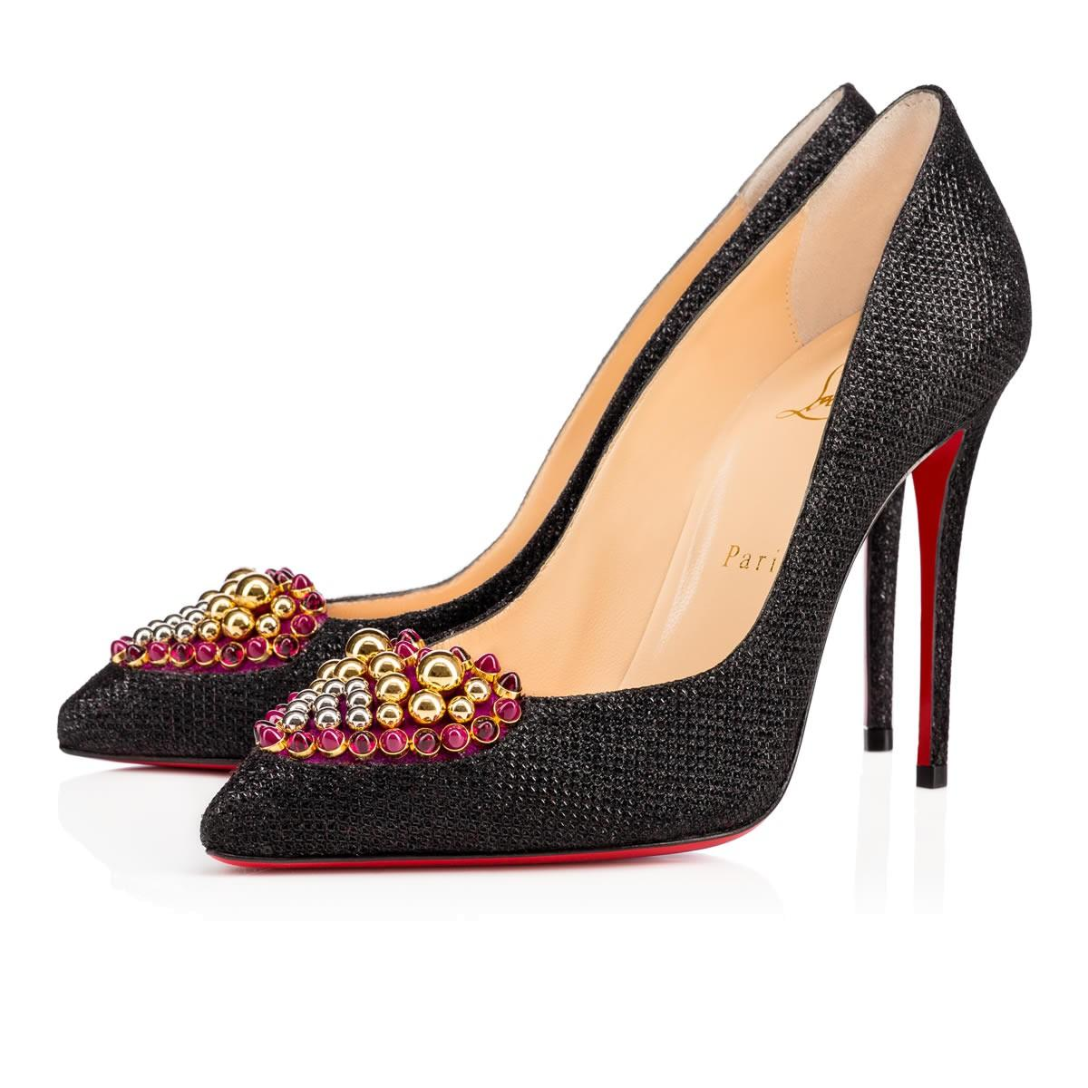 Christian Louboutin Black New Coralta Mia 100mm Glittered Heart Pumps Size US 12 Regular (M, B)