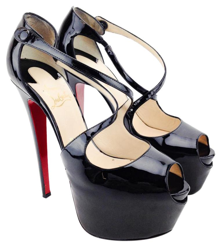 Christian Louboutin Black Patent Leather Exagona Peep-toe Platforms Size US 9.5