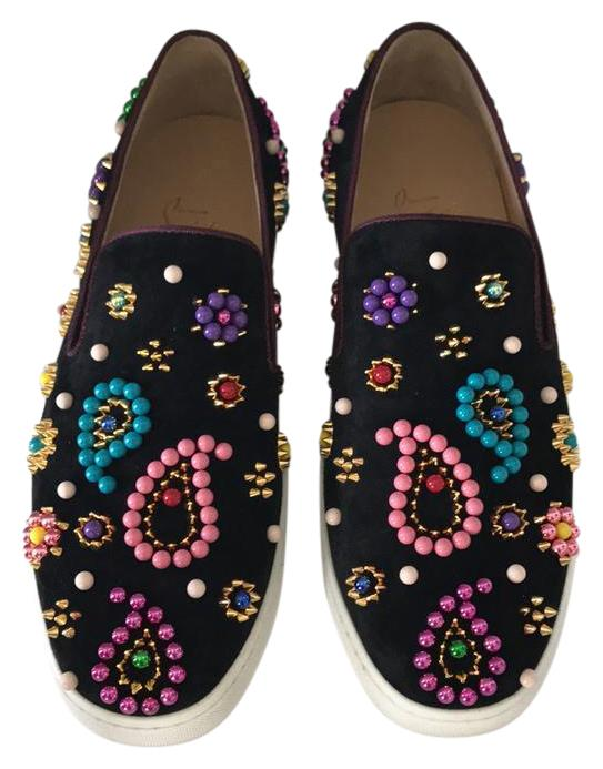Christian Louboutin Black Pink Green Yellow Gold Purple Blue Red Boat Candy Flat Sneakers Size US 9 Regular (M, B)