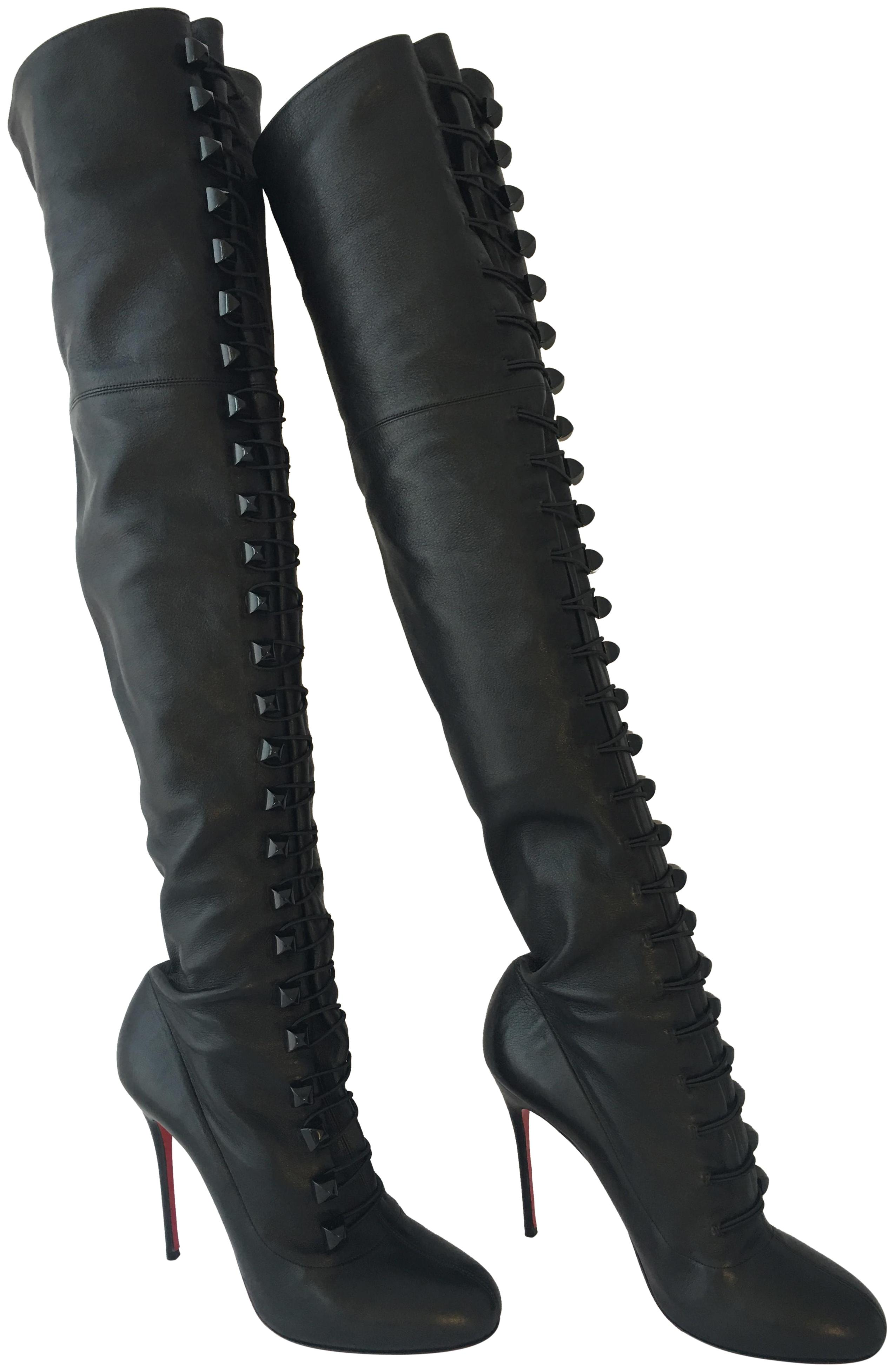 68e70e287e61 Christian Louboutin Black Ronfifi Supra 37.5 It It It Thigh High Over Knee  Heel Lady Daf Red Leather Boots Booties Size US 7.5 Regular (M