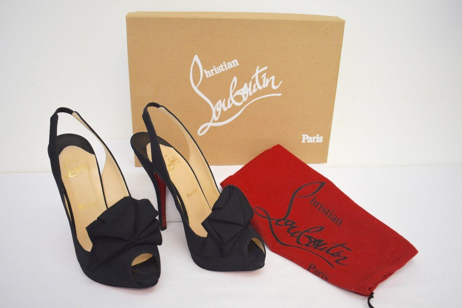 christian louboutin satin noir ouvre toe nm chaussures taille taille taille formelle nous d9f949