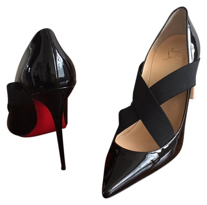 Christian Louboutin Black Sharpstagram Crisscross Patent Leather Pumps Size US 9.5 Regular (M, B)