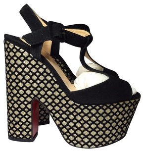 Christian Louboutin black / silver Wedges