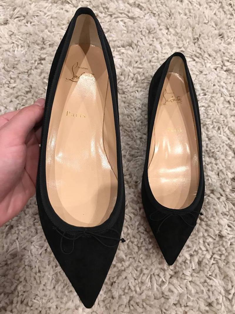 33eb6035336b ... Christian Louboutin Louboutin Louboutin Black Solasofia Suede Classic  Pointed Ballet Flats Size EU 38.5 (Approx ...