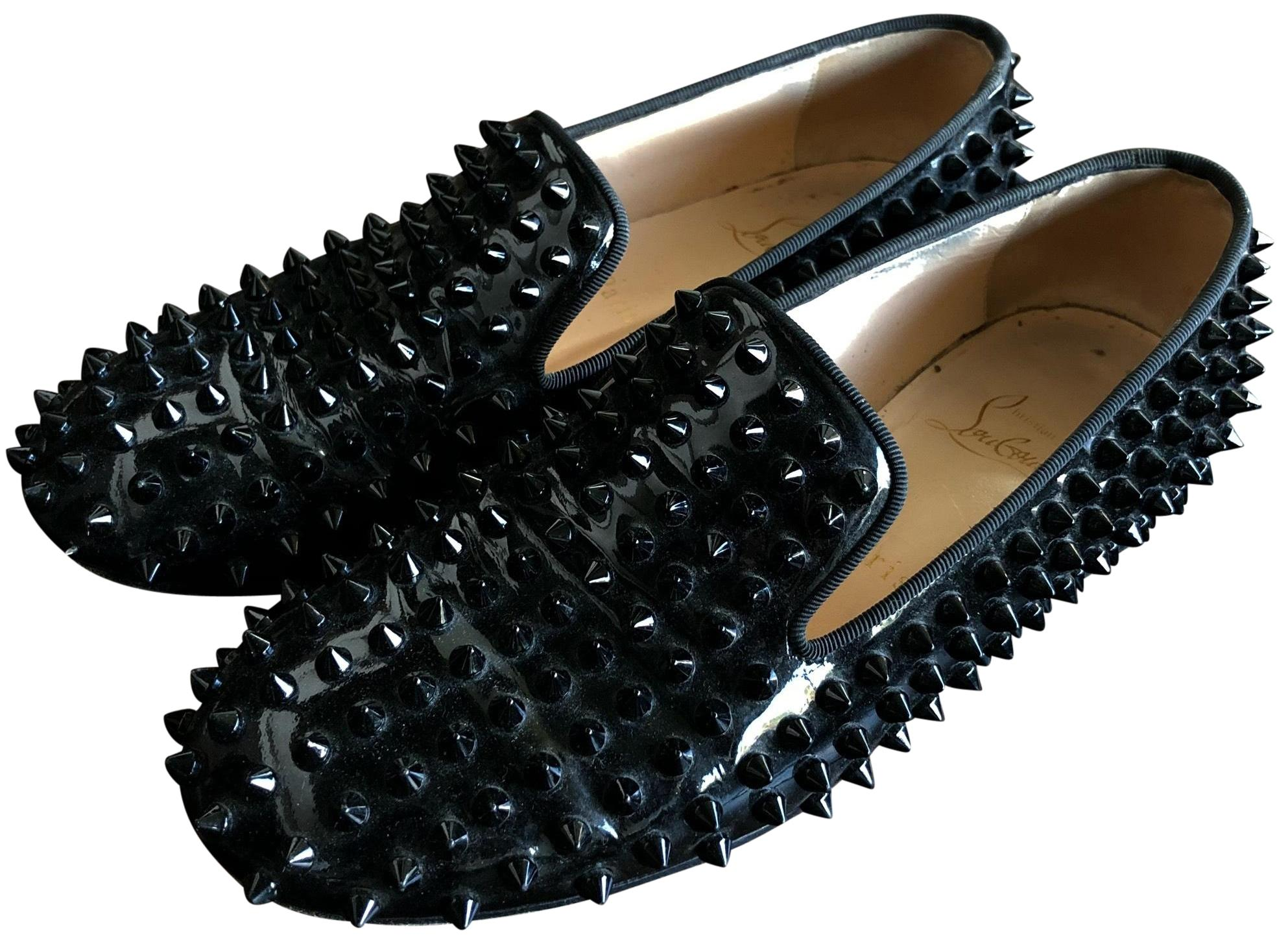 09092c086 Christian Louboutin Black Spiked Flats Size US 7 Regular (M