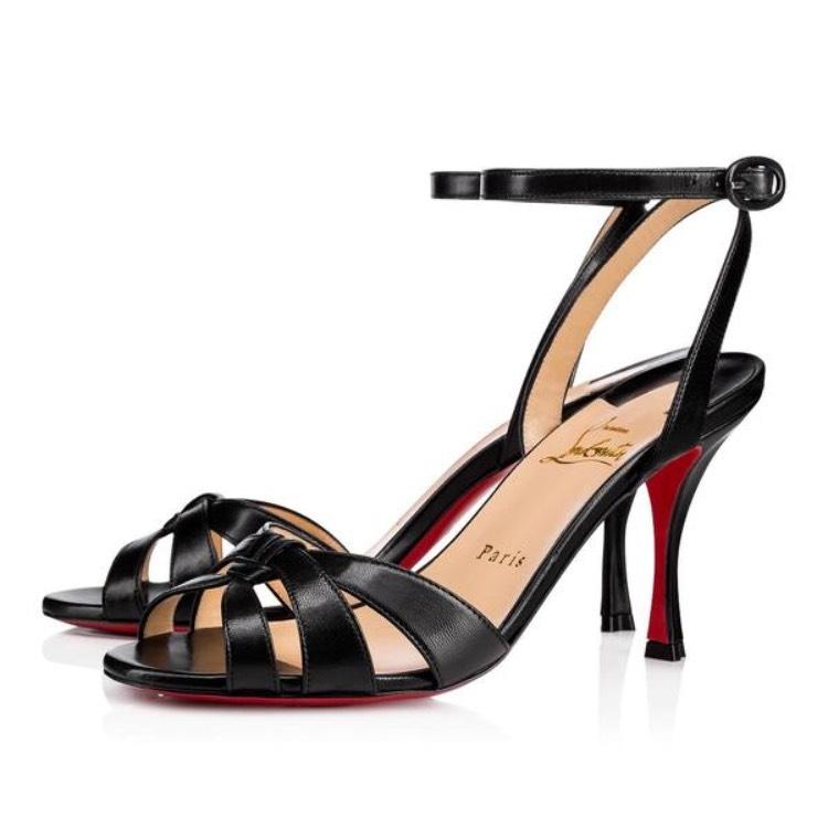92a4c82abd Christian Louboutin Black Trezuma 85mm 85mm 85mm Leather Sandal Stiletto Pumps  Size EU 37 (Approx
