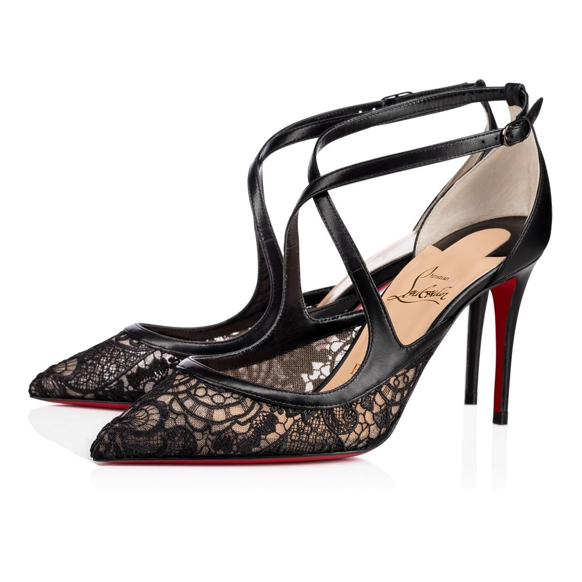 Christian Louboutin Black Twistissima 85 Lace Criss Cross