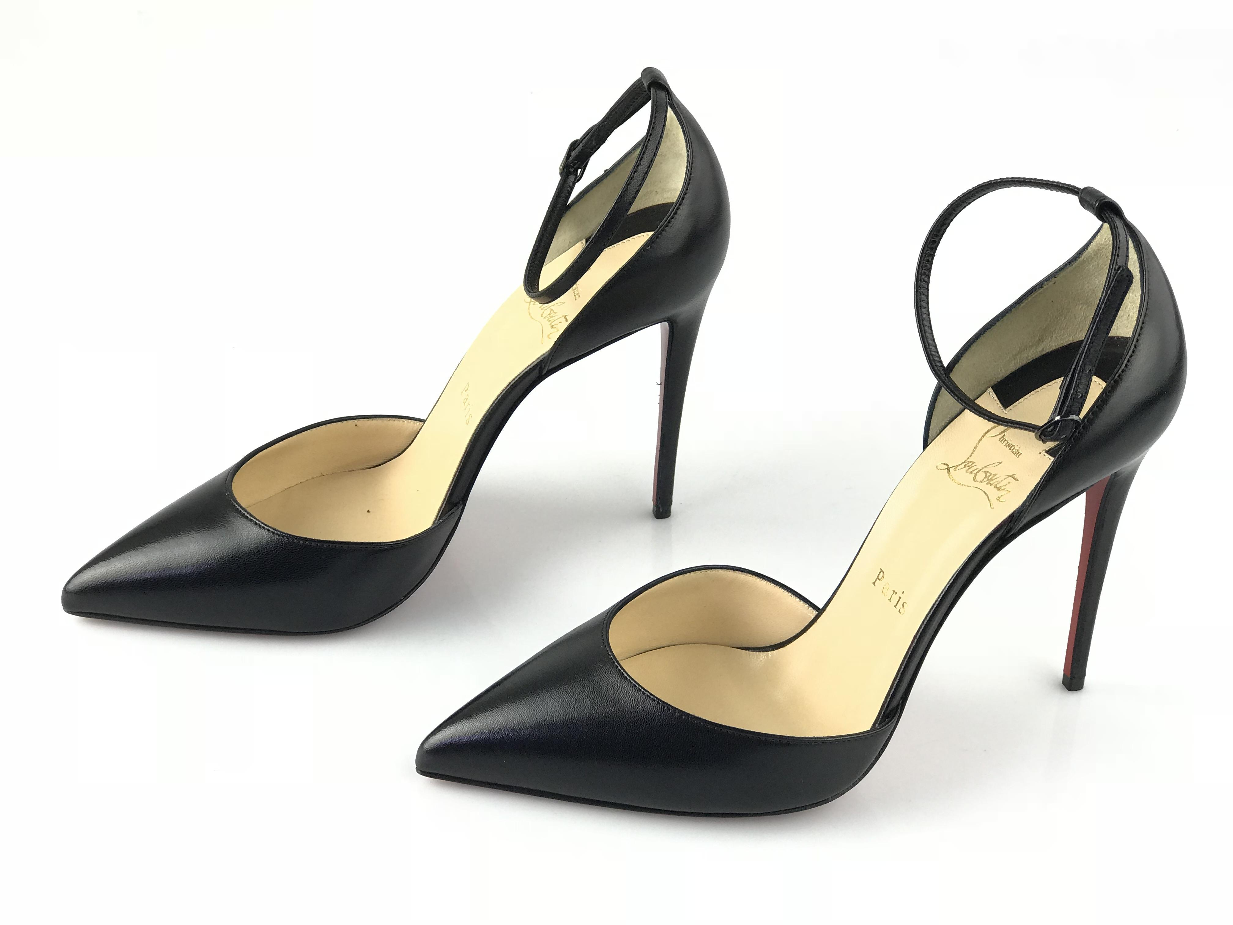 check out 47b46 be5a5 Christian Louboutin Black Uptown 100mm Ankle Strap Pumps ...