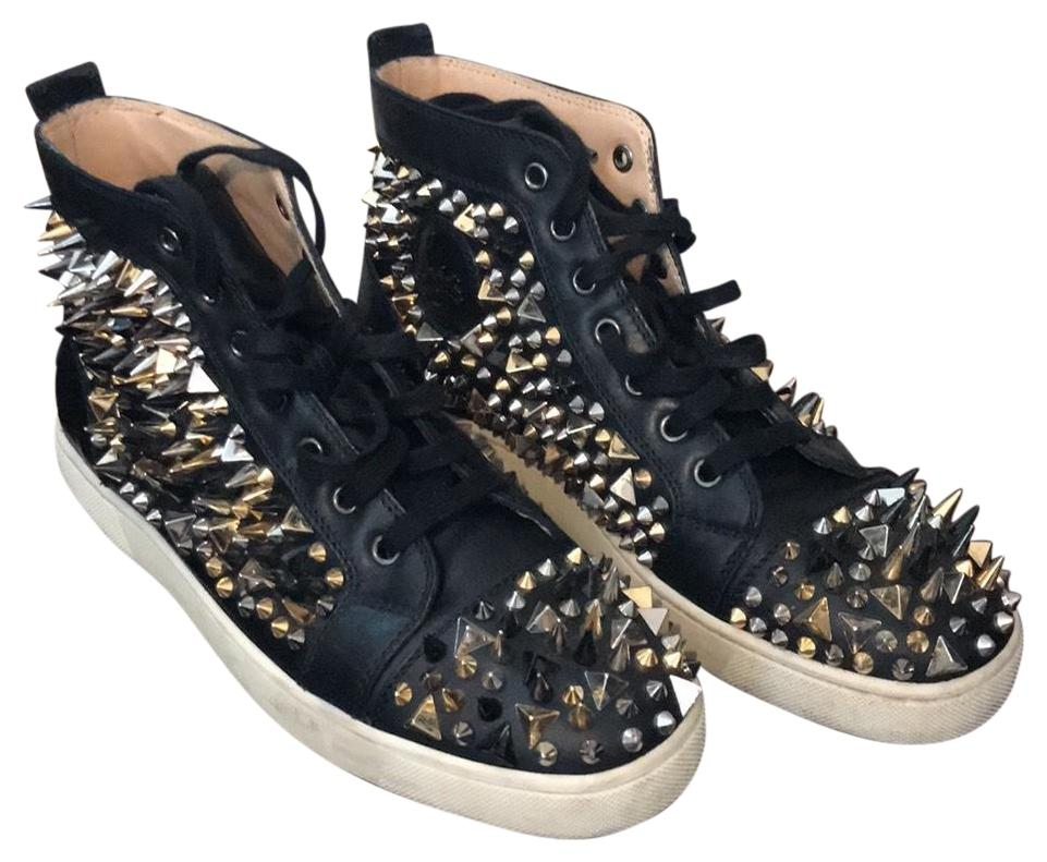 Christian Louboutin Black with Gold Black & Silver Spikes Pik Pik Sneakers Size EU 40.5 (Approx. US 10.5) Regular (M, B)