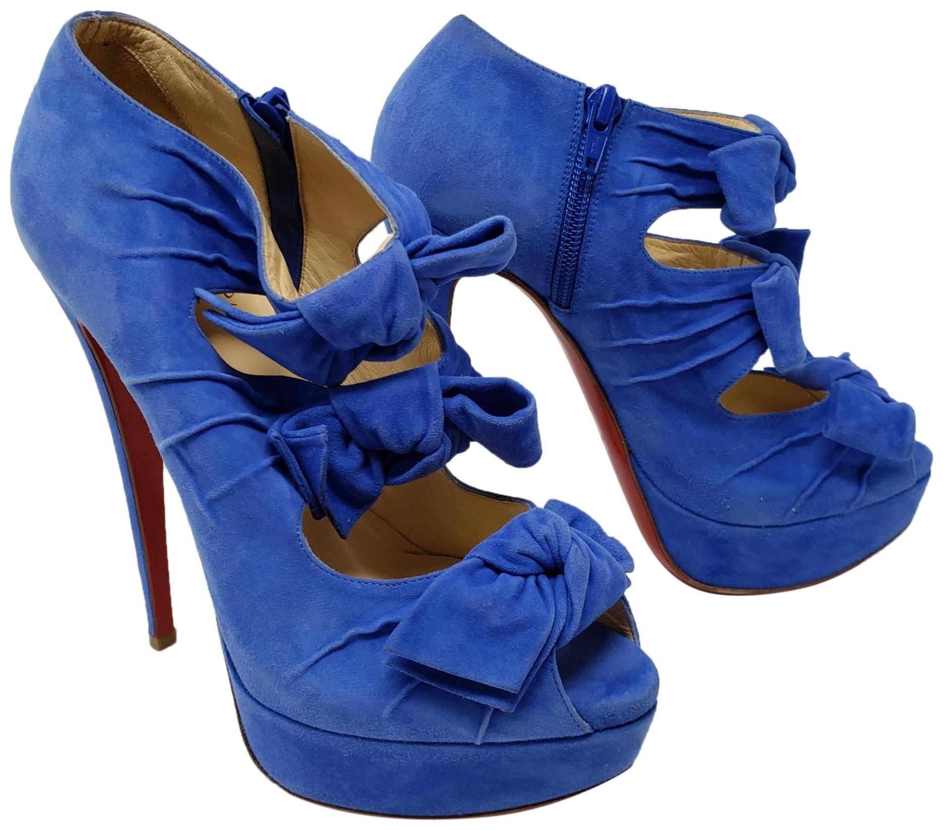 Christian Louboutin Blue Suede Madame Butterfly Bow Cutout Boots/Booties Size EU 38 (Approx. US 8) Regular (M, B)
