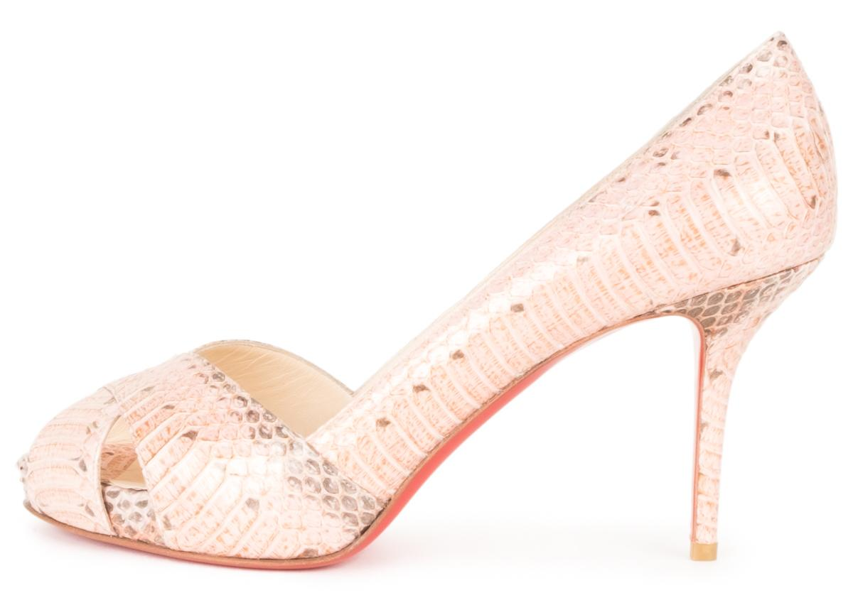 Christian Louboutin Blush And Grey Python Open Pumps Size US 10.5