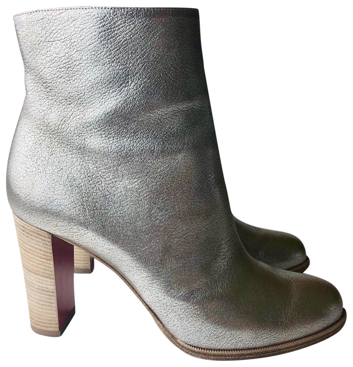 06774511fc91 Christian Christian Christian Louboutin Silver Adox 85 Metallic Leather  Ankle Boots Booties Size EU 38.5 (Approx. US 8.5) Regular (M