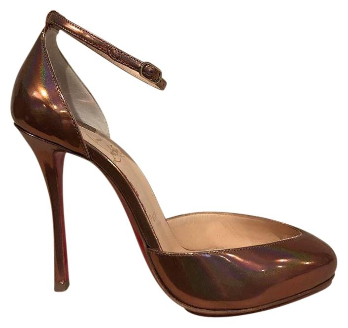 Christian Louboutin Bronze Dollyla 100 Cappuccino Ankle Strap Heel 35.5 Pumps Size US 5.5 Regular (M, B)