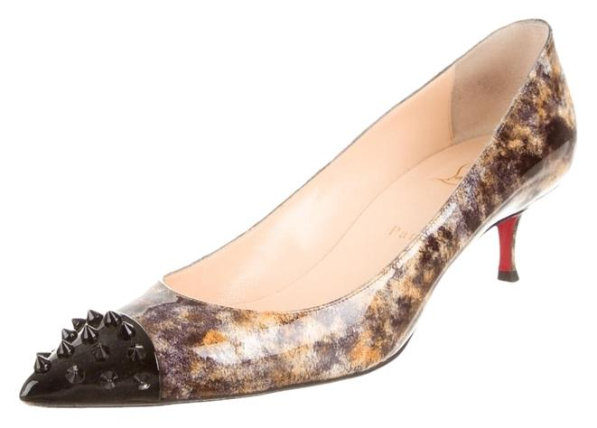 Christian Louboutin Brown Black Multicolor Patent Leather Pointed-toe Kitten Heels Pumps Size US 10.5 Regular (M, B)