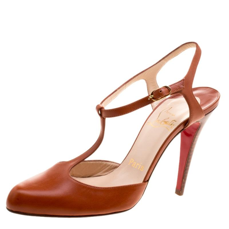 Christian Louboutin Brown Copper Leather Me Pam T Strap Sandals Pumps Size EU 38 (Approx. US 8) Regular (M, B)