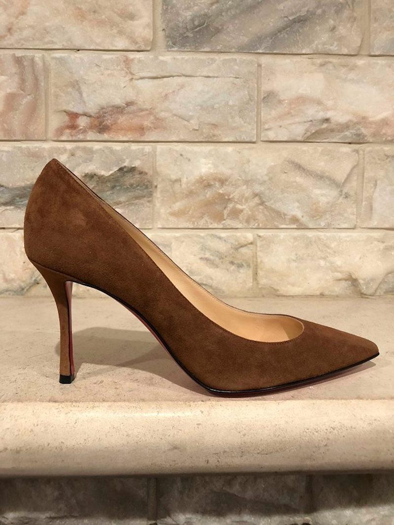04b897b9bc2 ... Christian Christian Christian Louboutin Brown Decoltish 85 Indiana  Suede Pointed Heel Pumps Size EU 40 ...