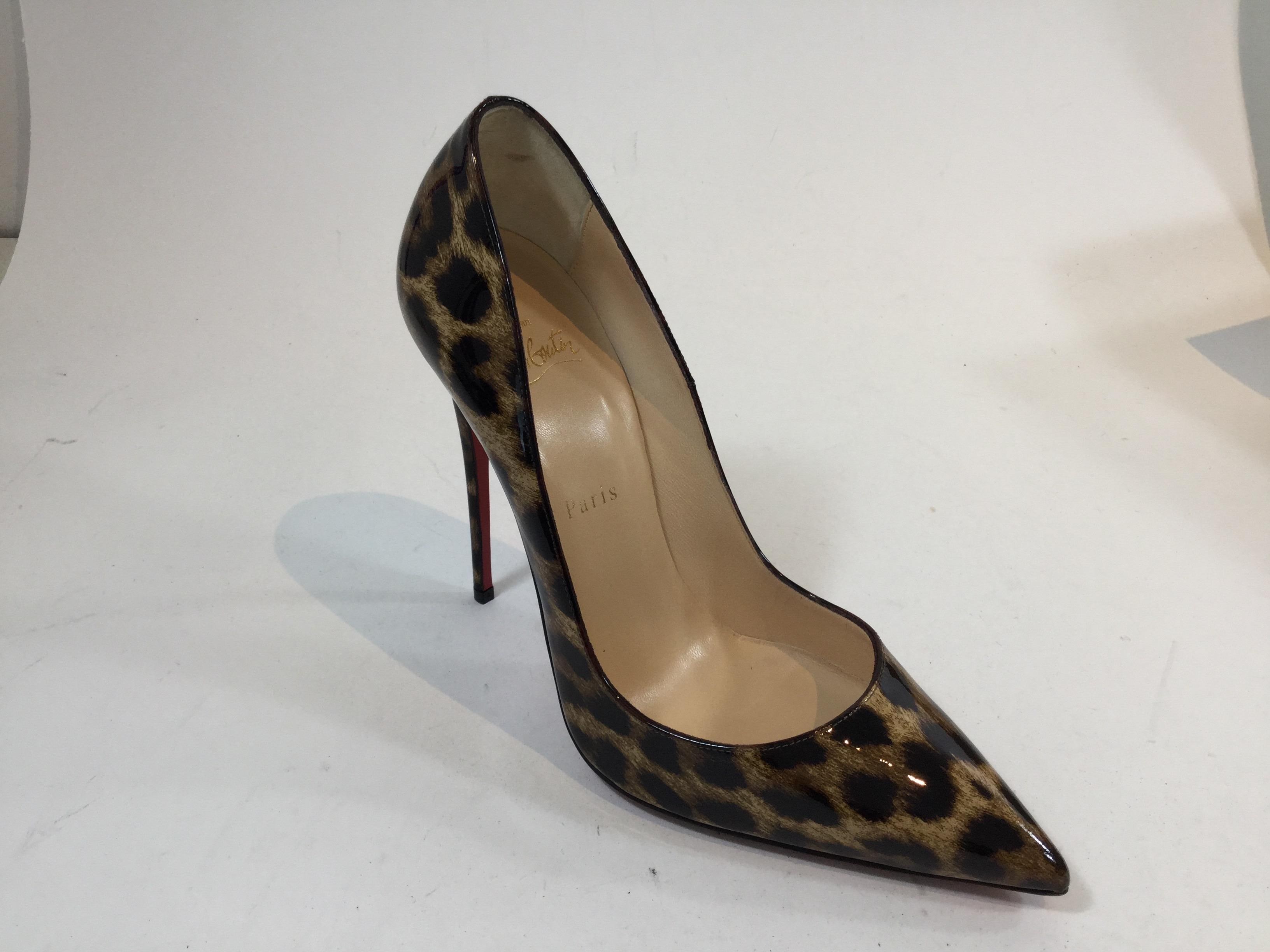 a19b6fccd516 Christian Louboutin Brown So Kate 120 120 120 Leopard Print Patent Leather  Pumps Size US 9.5 Regular (M