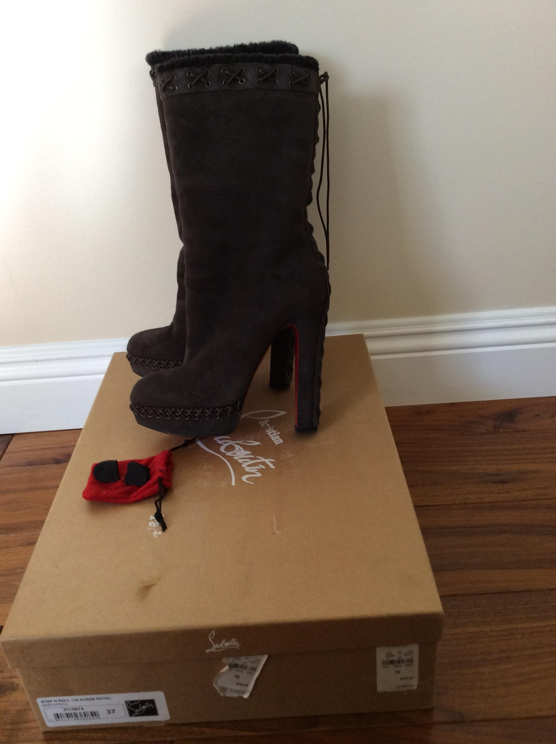 67f5a88d7dd7 ... Christian Louboutin Brown Brown Brown Step N Roll 140 Suede Royal Boots  Booties Size US ...