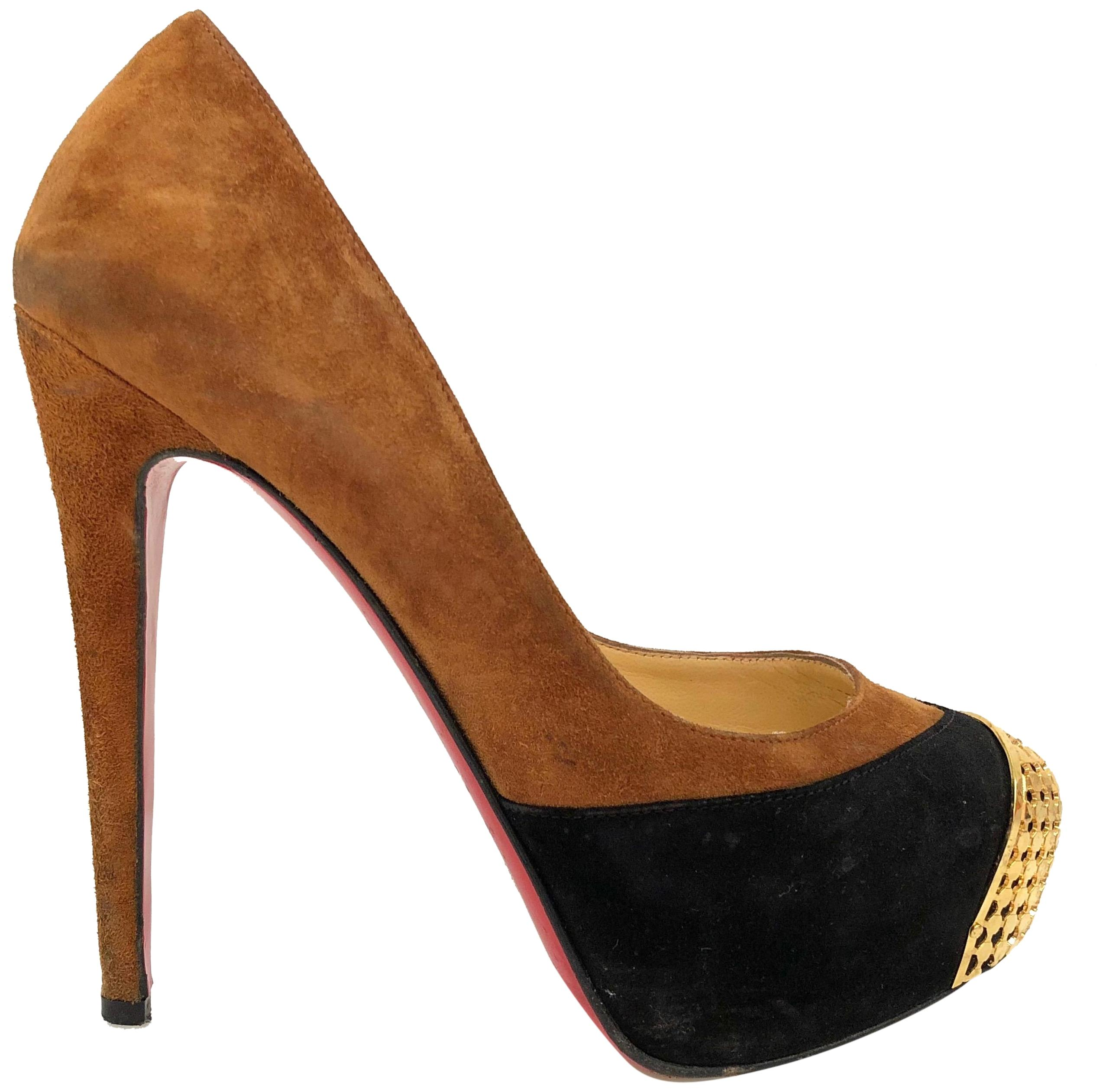 Christian Louboutin Brown/Black Maggie Platform Pumps Size EU 35.5 (Approx. US 5.5) Regular (M, B)