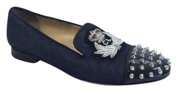 1cdd600476a ... sneakers 3aaf6 0ed3e  closeout christian louboutin loafer spiked denim  flats 8d9a1 a5e74