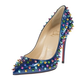 Christian Louboutin Follie Spike Blue Blue Patent Pumps