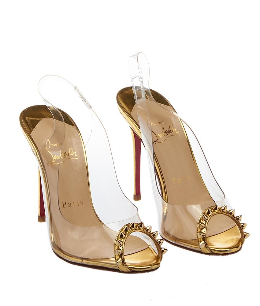 ecb9a288eb8b ... heels shoes 5391f 0eefd  uk christian louboutin gold clear womens  leather pvc ring my toe b2e0b 11b80
