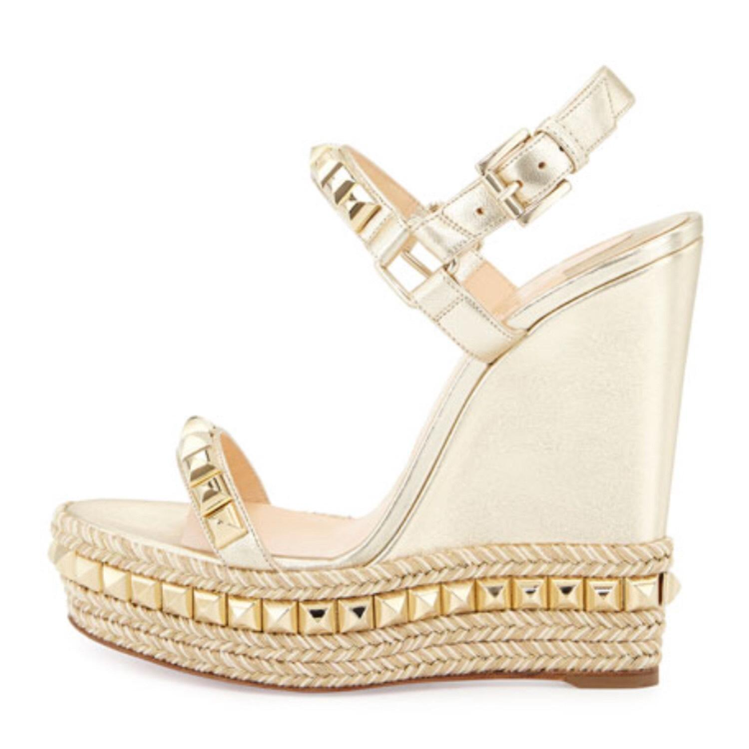 clearance in China Christian Louboutin Metallic Espadrille Wedges cheap new FcmHe9