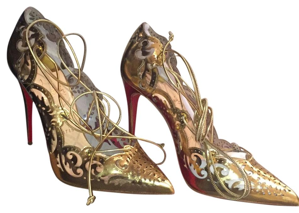 b158e3d77507 clearance christian louboutin impera pumps in gold price d9b05 39e20