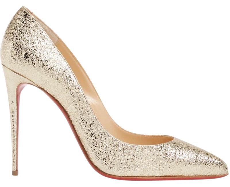 09c0ea1e07d4 Gentleman Lady :Christian Louboutin Gold Gold Gold Pigalle Follies 100  Platine Metallic Crinkled Leather Classic Heel Pumps Size EU 38 (Approx.