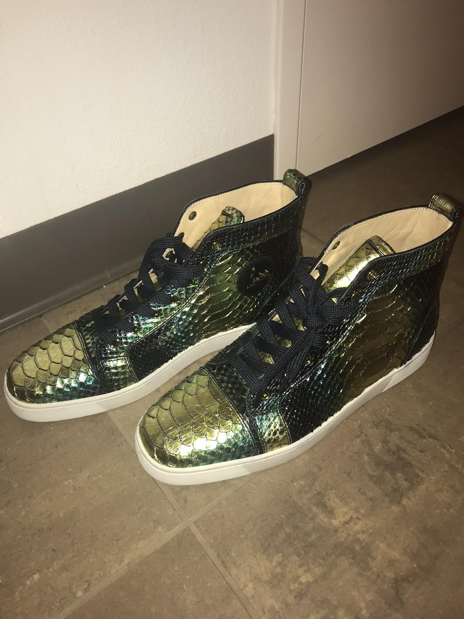 bf96c55cd9f6 ... Christian Louboutin Gold Black Green Men s Louis Flat Mimosa Sneakers  Size Size Size US ...