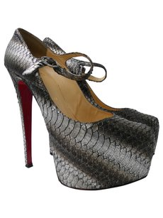 Christian Louboutin Grey Metallic Snakeskin Platforms