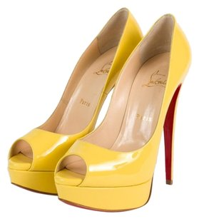 Christian Louboutin Lady Peep 39 Yellow Platforms
