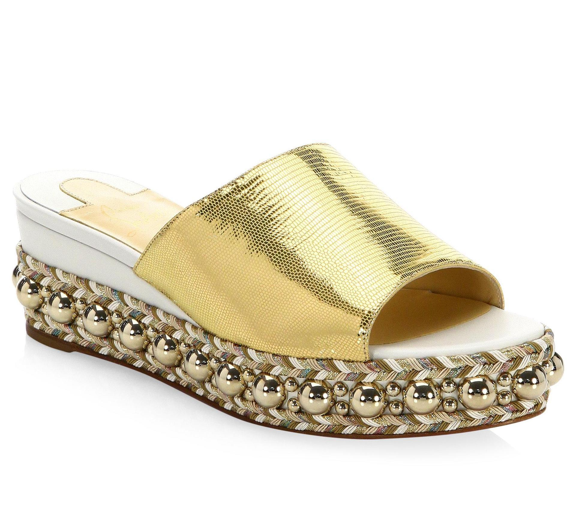 Christian Louboutin Latte Metallic Gold Janibasse 60mm White Studded Spike B068 Sandals Size EU 41 (Approx. US 11) Regular (M, B)